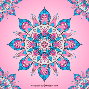 Fondo rosa con mandala plano