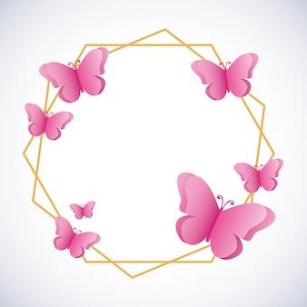 Fondo rosa mariposas siluetas