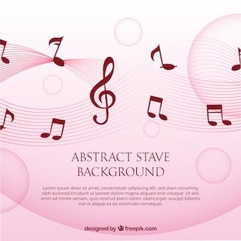 Fondo rosa con notas musicales y clave de sol