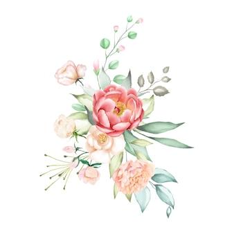 Fondo rosa ramo de acuarela