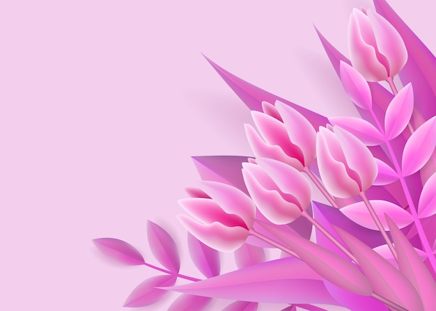 Fondo rosa con ramo de flores degradado de malla