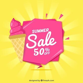 Fondo rosa de rebajas de verano con helado