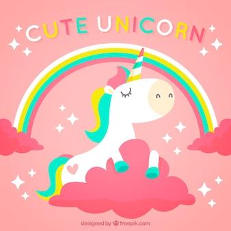 Fondo rosa de unicornio con arcoris