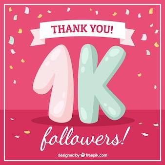 Fondo rosa vintage con confeti de 1k de seguidores