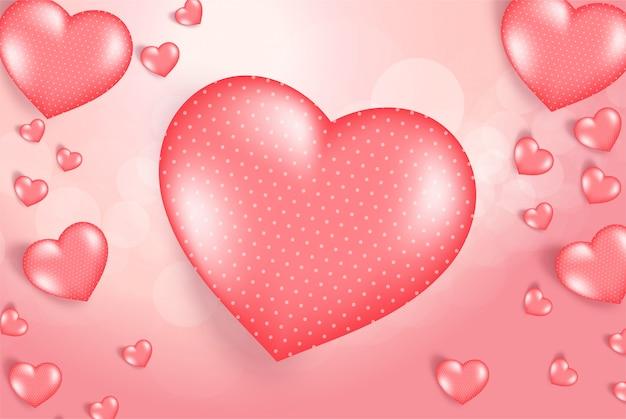 Fondo rosado del día de tarjeta del día de san valentín con los corazones 3d en rojo.