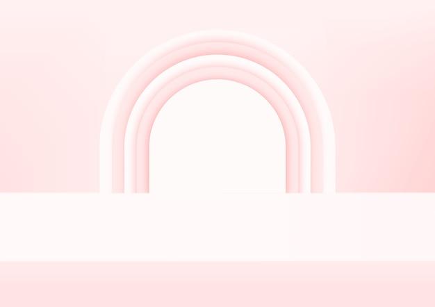 Fondo rosado del estudio vacío para la exhibición del producto.