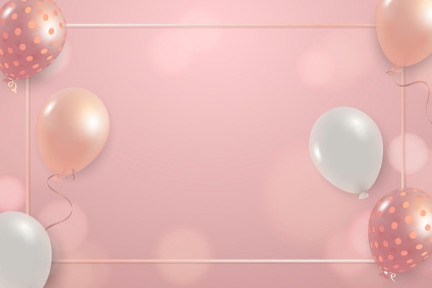Fondo rosado festivo del bokeh de los globos de la celebración del marco del vector del año nuevo