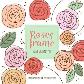 Fondo de rosas decorativas dibujadas a mano