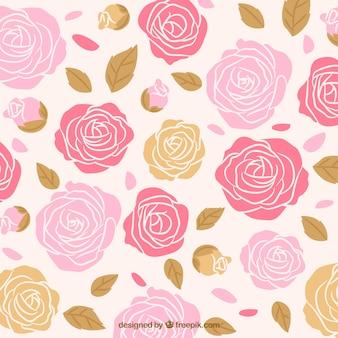 Fondo de rosas dibujadas a mano con hojas