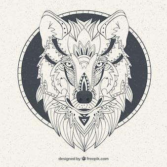 Fondo con rostro de lobo étnico dibujado a mano