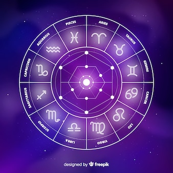 Fondo de rueda del horóscopo en el espacio