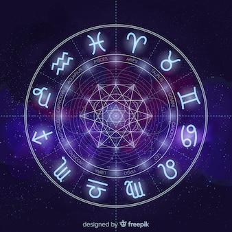 Fondo de rueda del zodiaco en el espacio