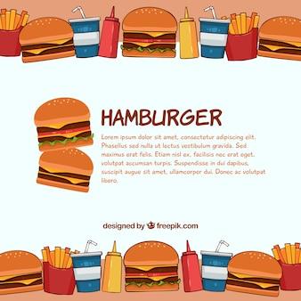 Fondo de sabrosa hamburguesa dibujada a mano