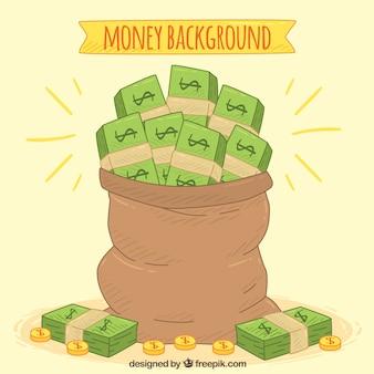 Fondo de saco lleno de billetes dibujados a mano