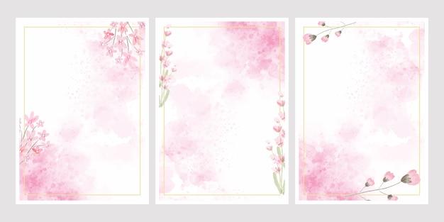 Fondo de salpicaduras de flores de acuarela rosa con colección de marco dorado para tarjeta de invitación de boda o cumpleaños