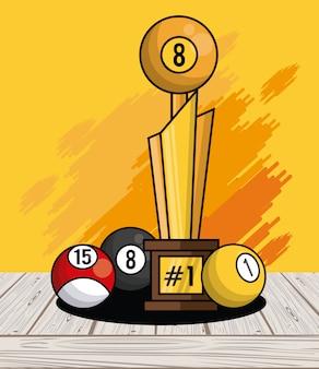 Fondo de salpicaduras de tarjeta de trofeo de equipo de bolas de deportes