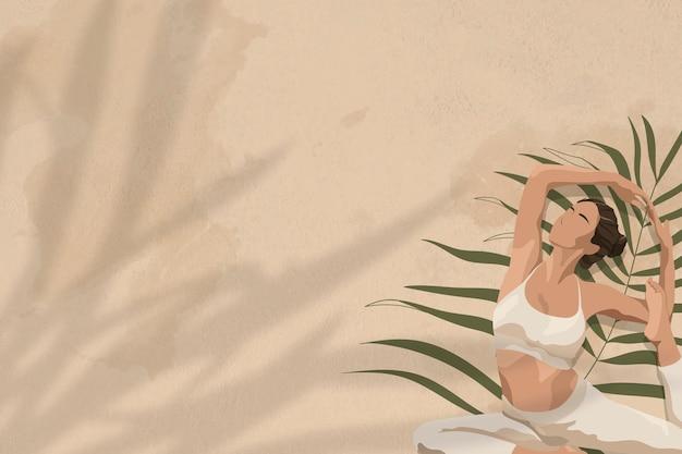 Fondo de salud y bienestar beige con mujeres estirando ilustración