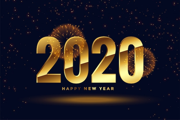 Fondo de saludo de celebración de año nuevo dorado 2020