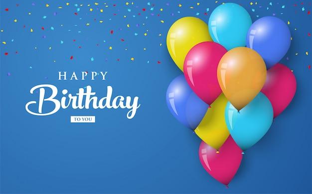 Fondo de saludo de cumpleaños con globos de colores