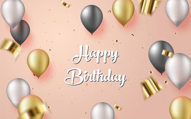 Fondo de saludo de cumpleaños con globos dorados y negros