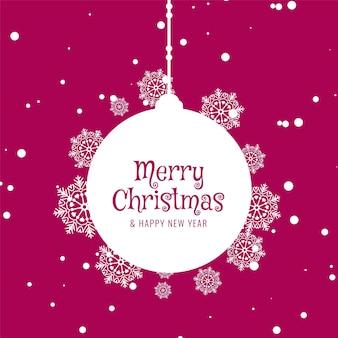 Fondo de saludo decorativo de feliz navidad de color rosa