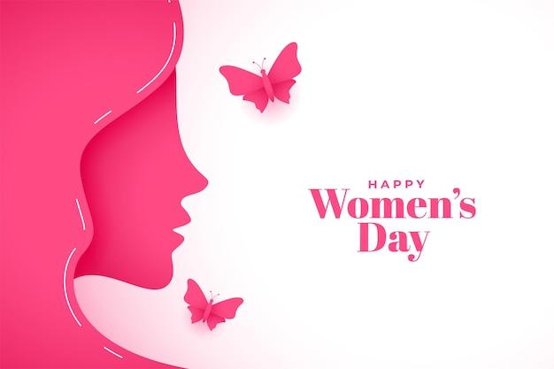Fondo de saludo del día de la mujer feliz estilo papel