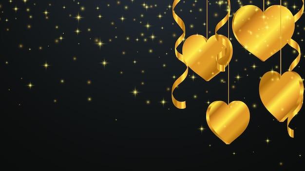 Fondo de saludo del día de san valentín. fondo de lujo con corazones de oro. ilustración de vector eps10