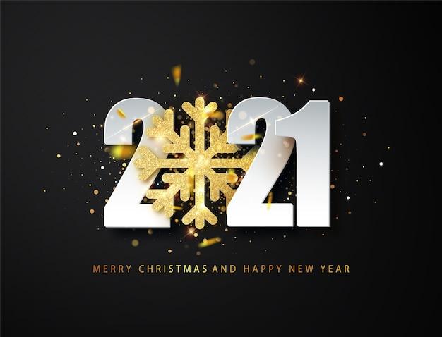 Fondo de saludo de feliz año nuevo 2021 con copo de nieve de brillo dorado y números blancos sobre fondo negro.