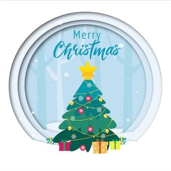 Fondo de saludo de feliz navidad con árbol de navidad