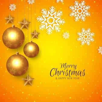 Fondo de saludo de feliz navidad de color amarillo abstracto