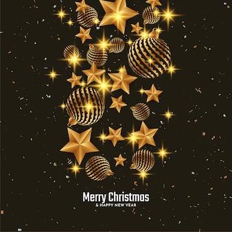 Fondo de saludo de feliz navidad con elementos dorados