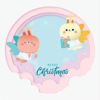 Fondo de saludo de feliz navidad con lindo conejo cupido