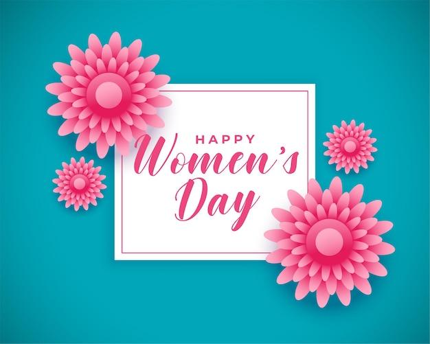 Fondo de saludo de flores de feliz día internacional de la mujer