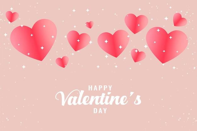 Fondo de saludo de hermoso día de san valentín corazones rosa