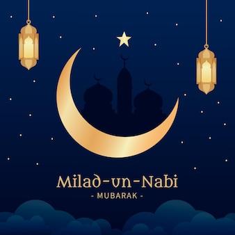 Fondo de saludo mawlid milad-un-nabi con linternas y luna