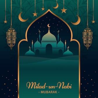 Fondo de saludo de mawlid milad-un-nabi con mezquita y linternas