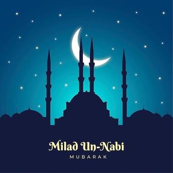 Fondo de saludo mawlid milad-un-nabi con mezquita y luna