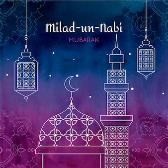 Fondo de saludo mawlid milad-un-nabi con mezquita