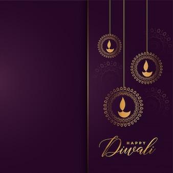Fondo de saludo de oro feliz diwali de lujo