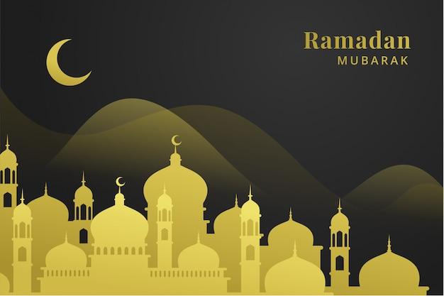 Fondo de saludo de oro ramadán