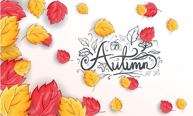 Fondo de saludo de otoño feliz dibujado a mano