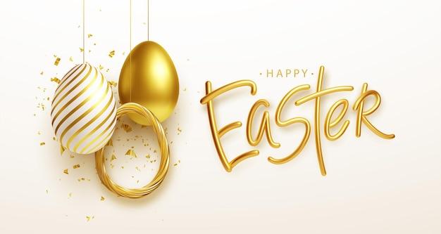 Fondo de saludo de pascua con huevos de pascua dorados, azules y blancos realistas. ilustración de vector eps10