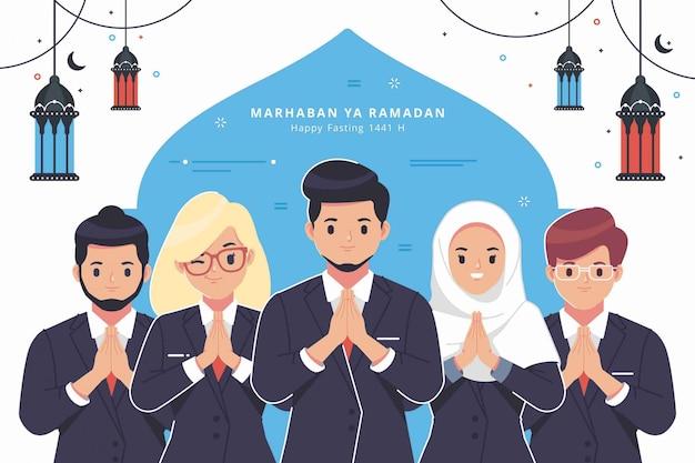 Fondo de saludo de ramadan de carácter de personas de negocios