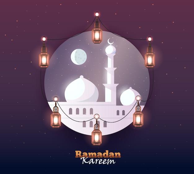Fondo de saludo de ramadán kareem. colorido para postal de felicitación, banner web y material de impresión. ilustración.