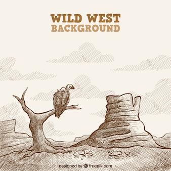 Fondo del salvaje oeste con buitre en estilo vintage