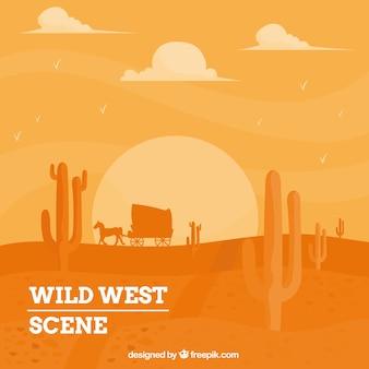 Fondo del salvaje oeste con carruaje en tonos naranjas