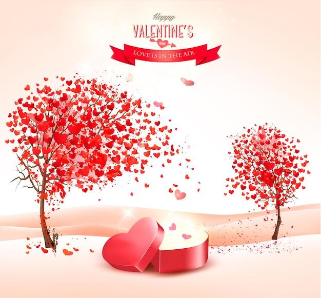Fondo de san valentín con una caja de regalo en forma de corazón.
