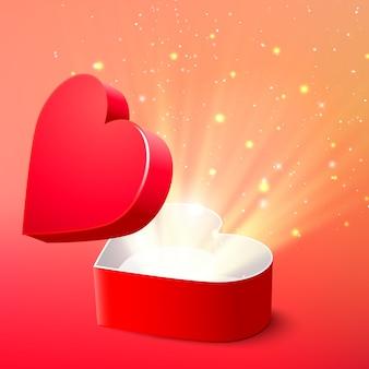 Fondo de san valentín con caja de regalo roja sorpresa abierta y brillo