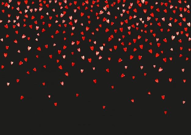 Fondo de san valentín con corazones de purpurina rosa