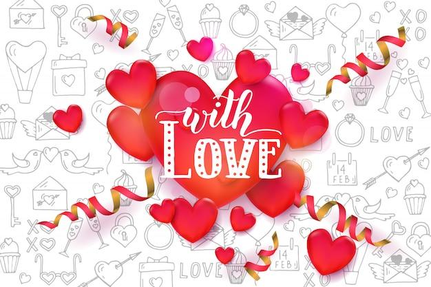 Fondo de san valentín con corazones rojos 3d y serpentina en patrón